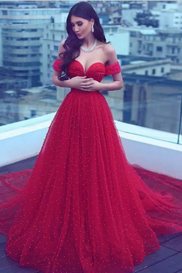 A-Line Off-the-Shoulder Court Train Dark Red Tulle Prom Dress G100 ...