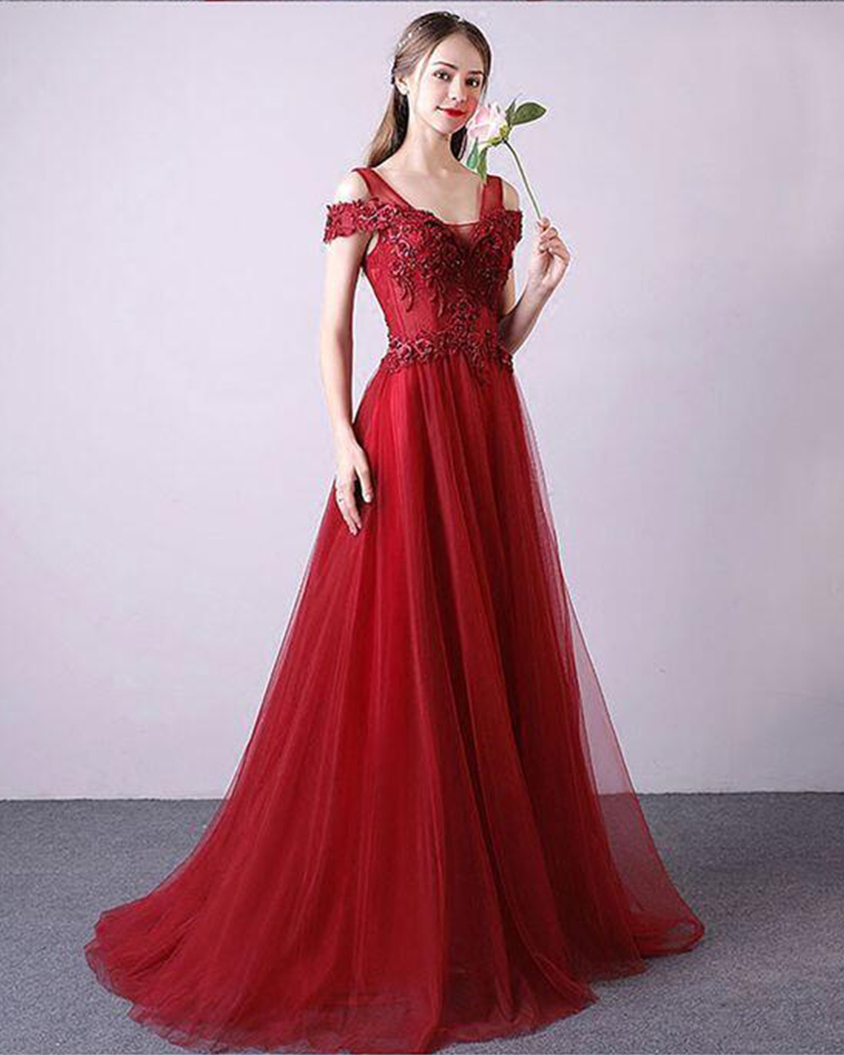 Special design spring red tulle floor length sweet 16 prom dress ...