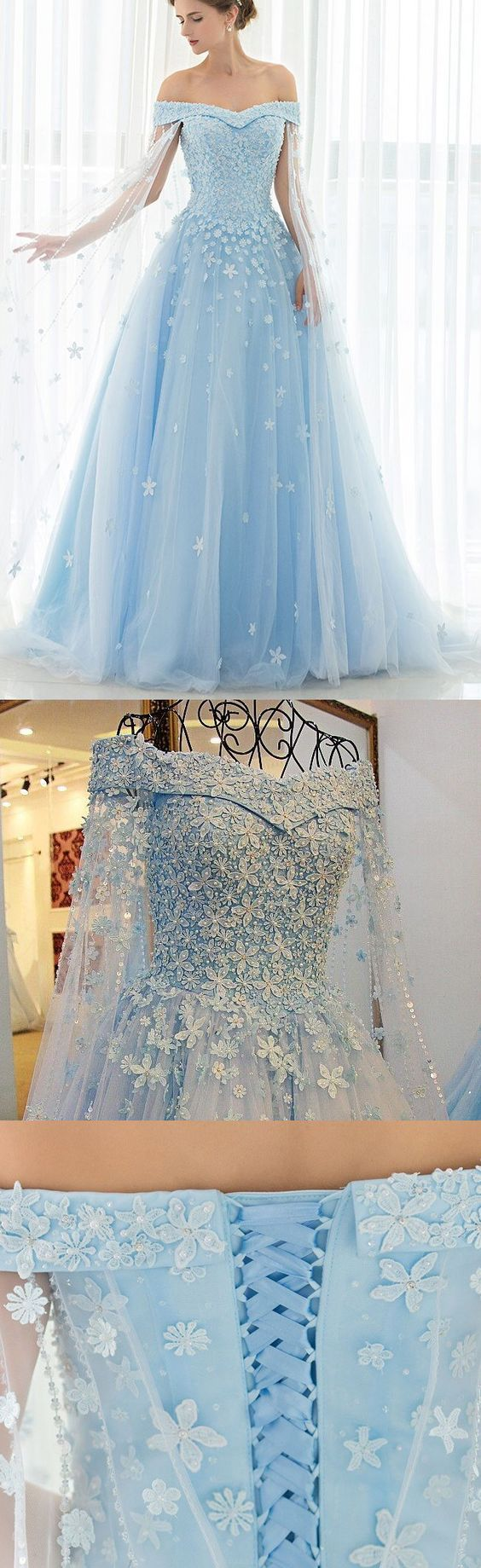 Princess Prom Evening Dresses Long Light Blue Dresses With Lace Up ...