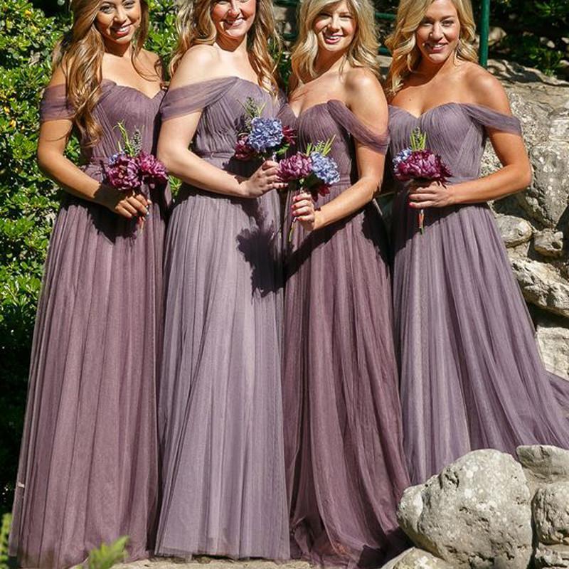Off Shoulder Long A-line Tulle Bridesmaid Dresses, Wedding