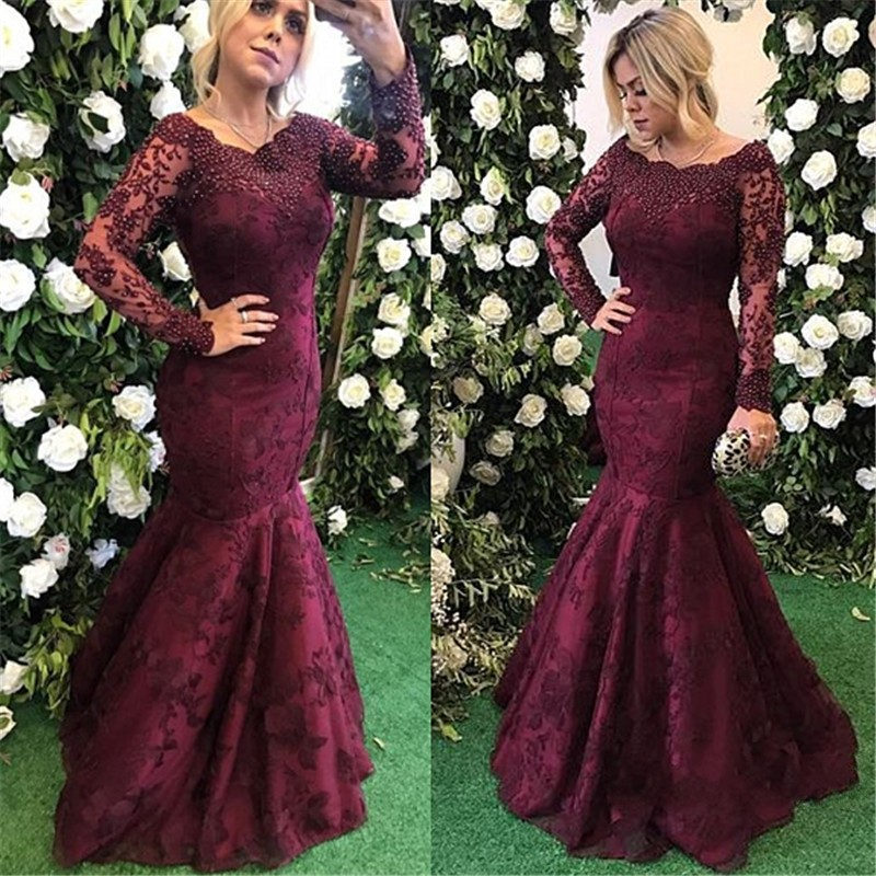 Charming Evening Dress Appliques Long Sleeve Mermaid Evening
