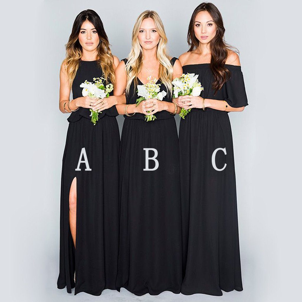 Black chiffon mismatched elegant long wedding bridesmaid dresses black chiffon mismatched elegant long wedding bridesmaid dresses wg321 ombrellifo Image collections