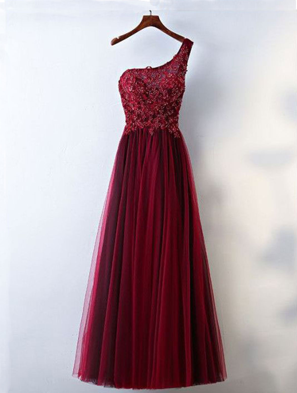Burgundy tulle one shoulder beads long bridesmaid dress with lace burgundy tulle one shoulder beads long bridesmaid dress with lace ombrellifo Choice Image