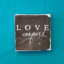 "Subway Art Wall Hanging Canvas 6"" x 6"" - Love Conquers, Inspirational Art"