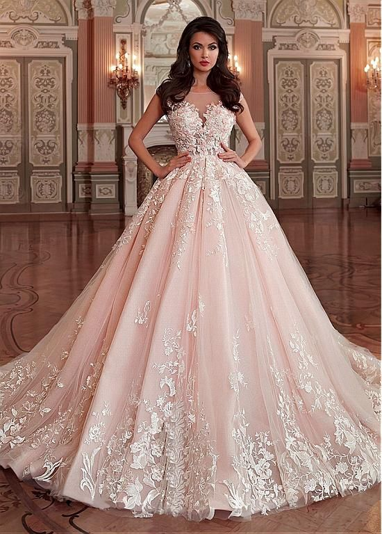 Stunning Light Pink Wedding Dress,Appliques Lace Sleeveless Bridal ...