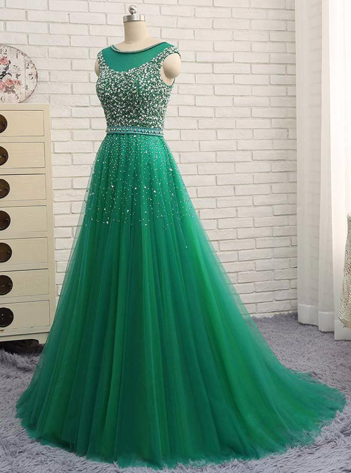 Shinning green tulle scoop neck long evening dress with sequins ...