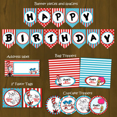 Dr seuss printable birthday party decorations package