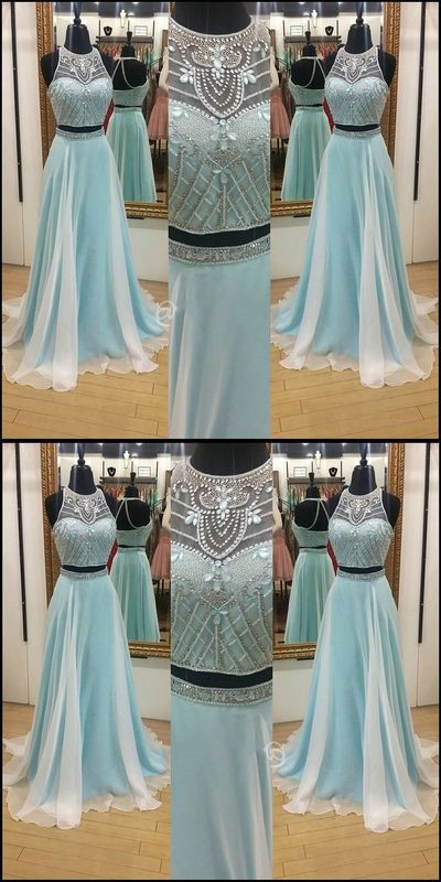 Backless Beaded Prom Dress,Two Pieces Halter Prom Dress,Custom Made ...