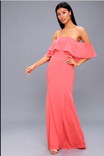 Elegant Coral Pink Prom Dress Satin Long Prom Dresses Evening Dress