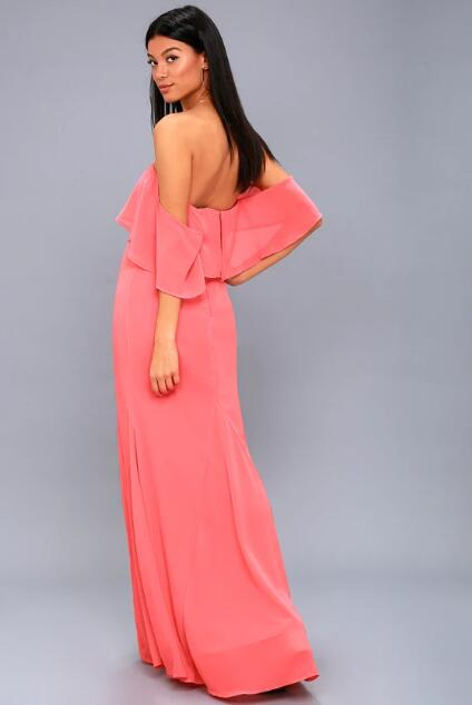 Elegant Coral Pink Prom Dress, Satin Long Prom Dresses Evening Dress ...