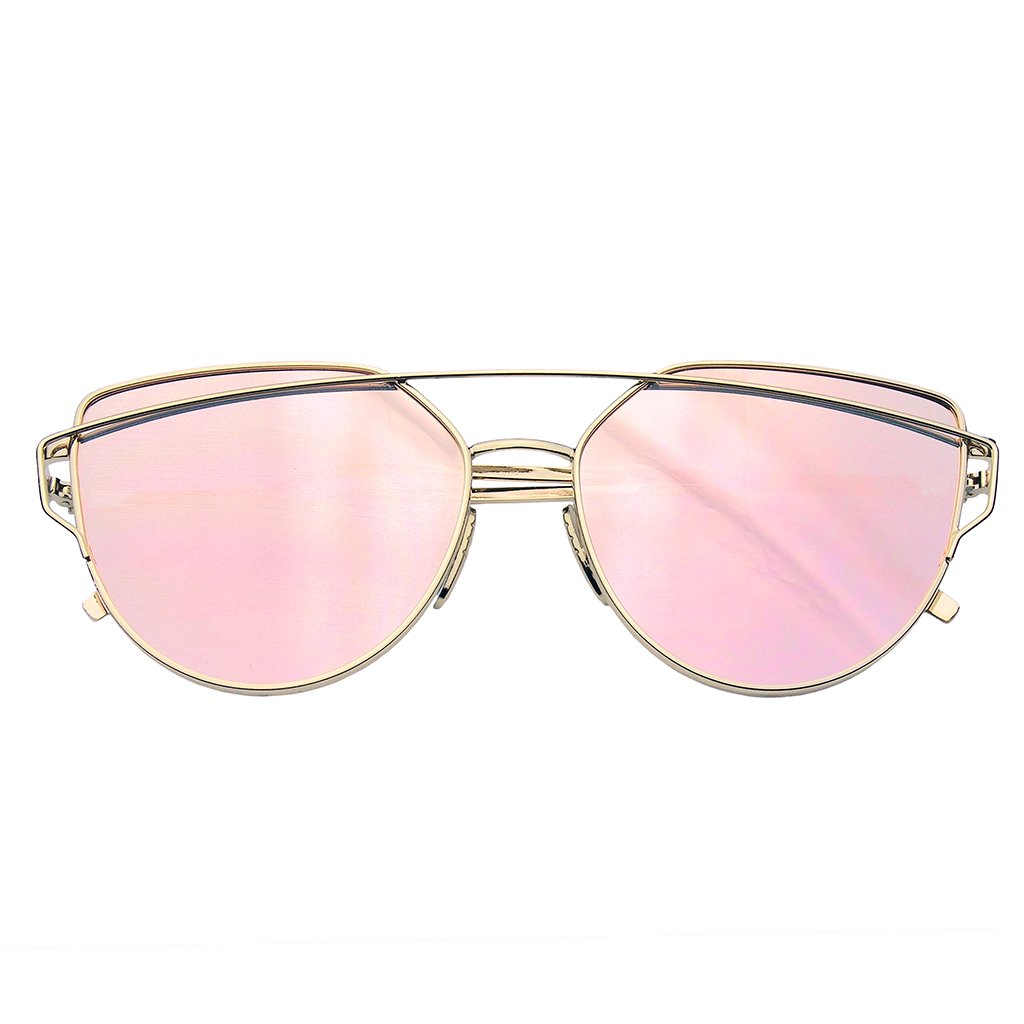 Cat Eye Mirrored Flat Lenses Aviator Sunglasses Metal Frame Womens Shades d5883e6e44
