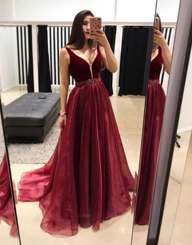 Burgundy V Neck Long Prom Dress Burgundy Evening Dress Dreamy
