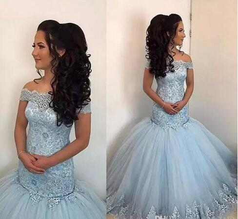 Newest 2018 Sky Blue Mermaid Prom Dresses Off Shoulder Illusion Lace