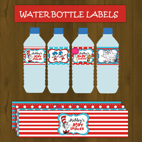 Dr. Seuss Baby Shower Water Bottle Labels   Thumbnail 1