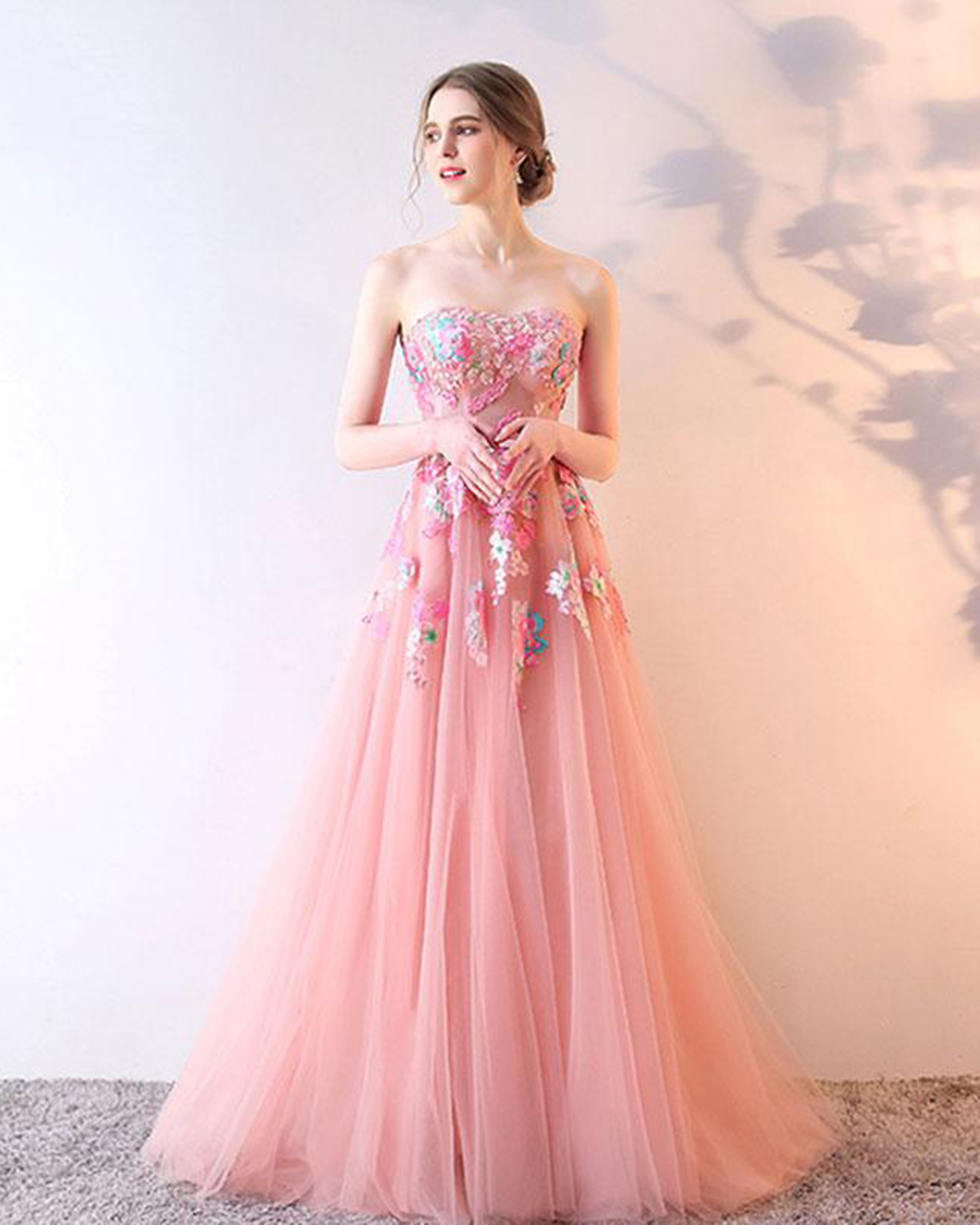 Pink tulle strapless long prom dress, long appliqués evening dress ...