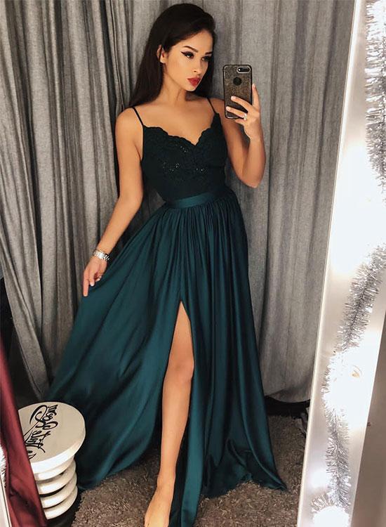 Dark green v neck long prom dress, lace evening dress · Dream Prom ...