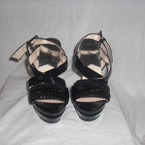 ♥MICHAEL KORS size 6 JUNIPER Platform Black Patent Leather Sandals♥ NEW!!!!