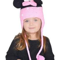 Handmade Crochet Minnie Mouse Hat in Pink with Earflaps