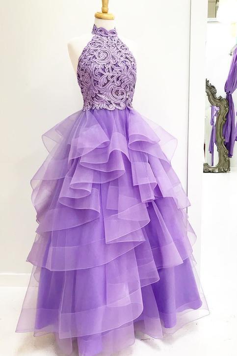 Princess High Neck Lavender Applique Long Prom Dress Sweet