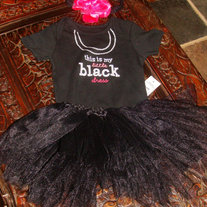 THIS IS MY LITTLE BLACK DRESS ONESIE AND TUTU SKIRT HEADBAND AND CLIP 4 PIECE SET