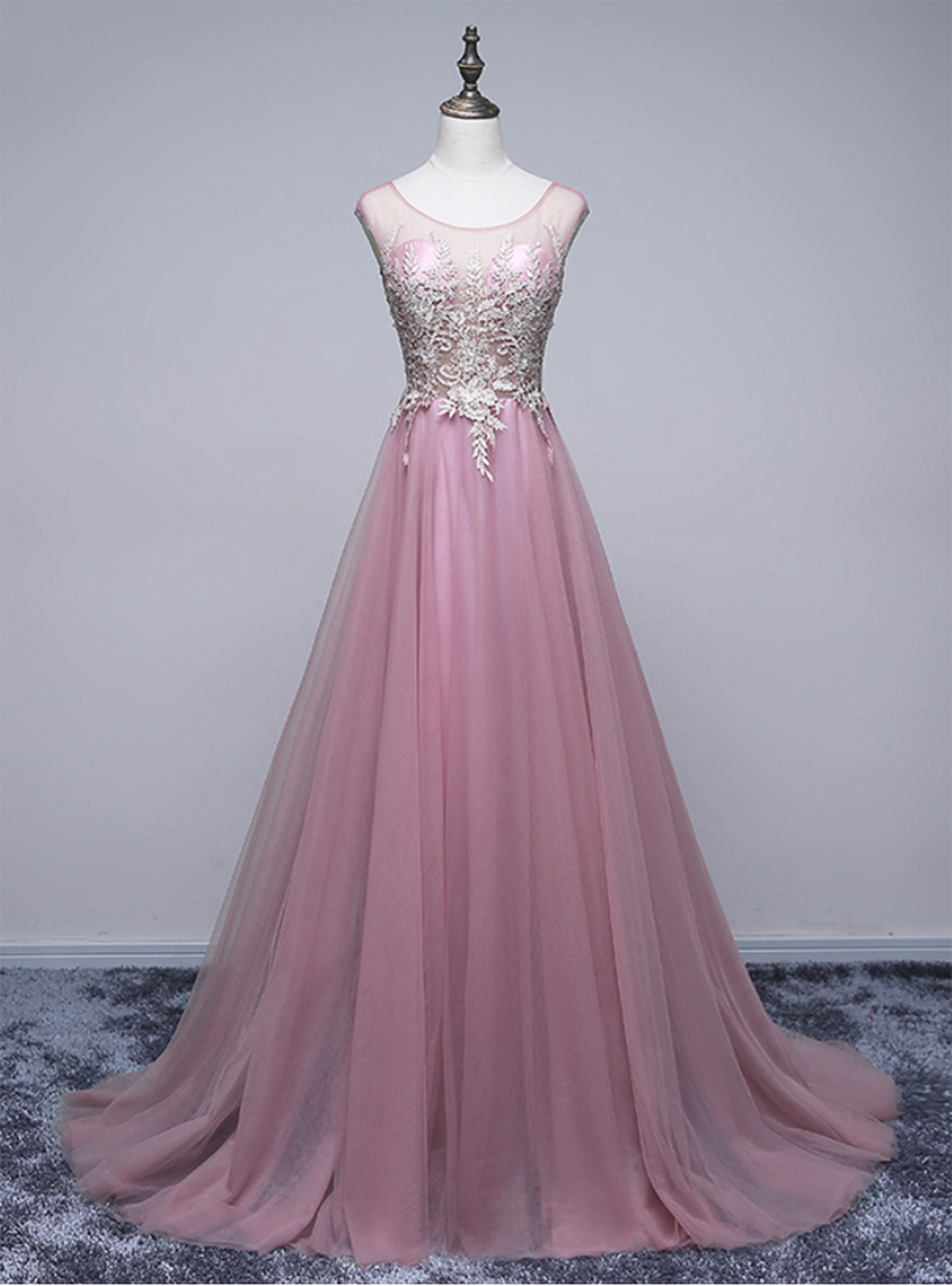 Unique pink tulle scoop neck long formal prom dress, pink lace ...