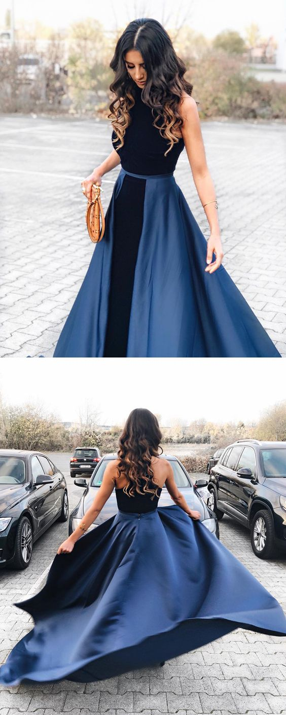 elegant navy blue lace prom dresses long satin evening gowns h01470