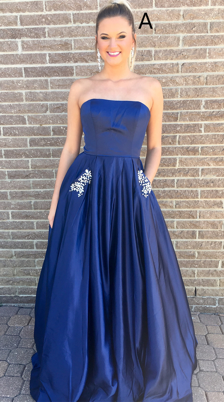 Princess Strapless Navy Blue/Yellow Long Prom Dress Evening Gowns ...