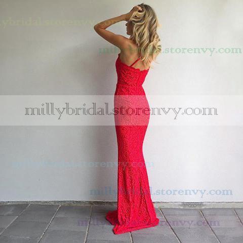 Red Prom Dresses,Sheath/Column Halter Long Formal Dresses,Beautiful ...