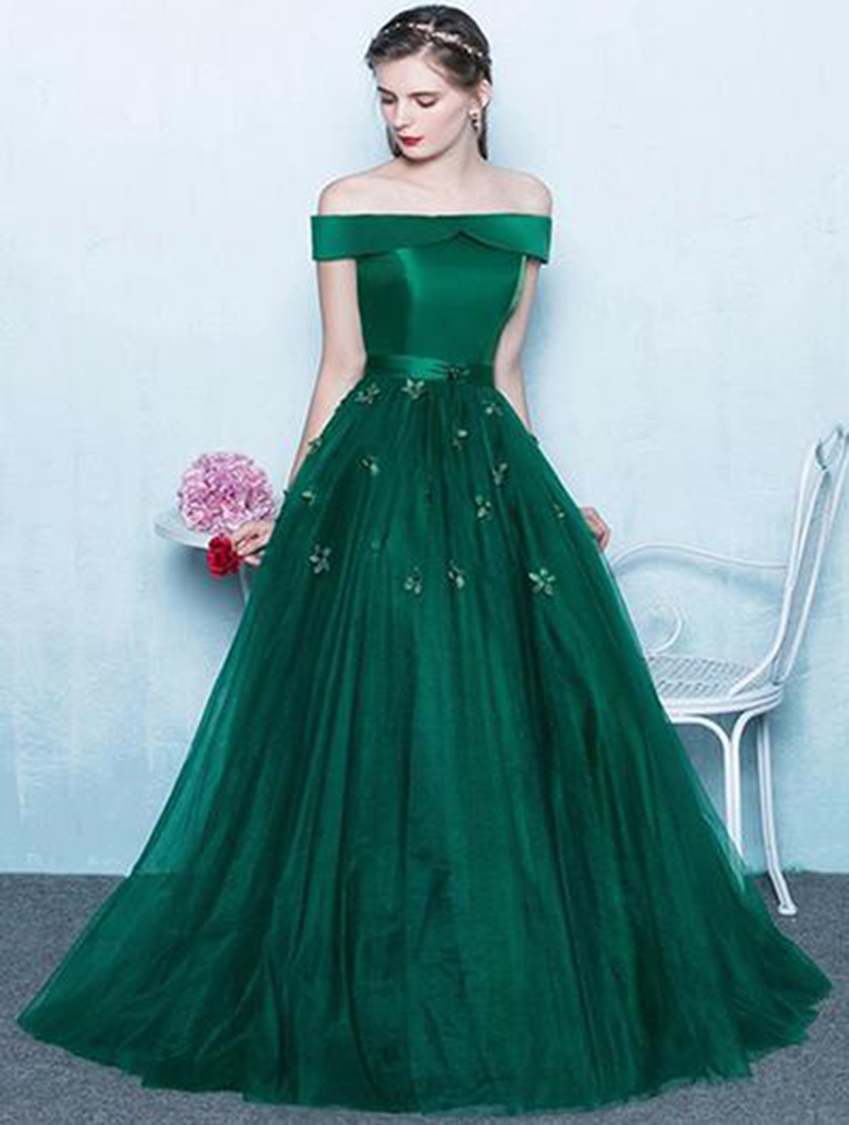Deep green tulle off shoulder long strapless prom dress, long ...