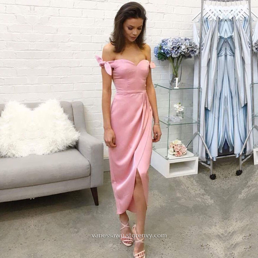 Cheap Prom Dresses,Sheath/Column Off-the-shoulder Tea-length Formal ...
