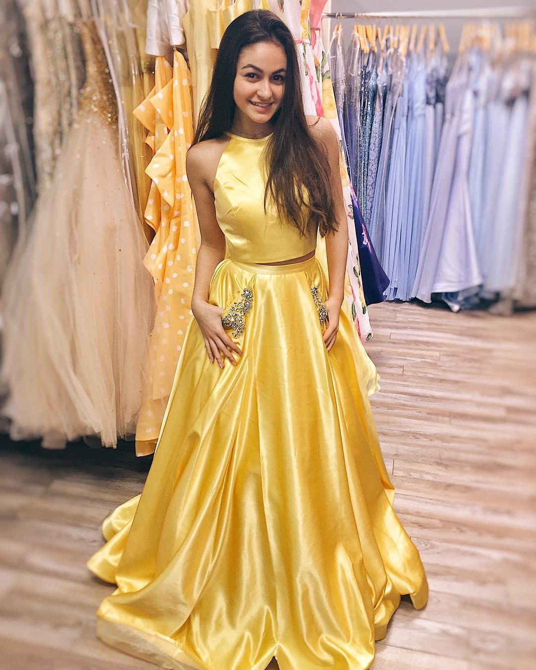Elegant Two Piece Yellow Long Prom Dress with Pockets · modsele ...