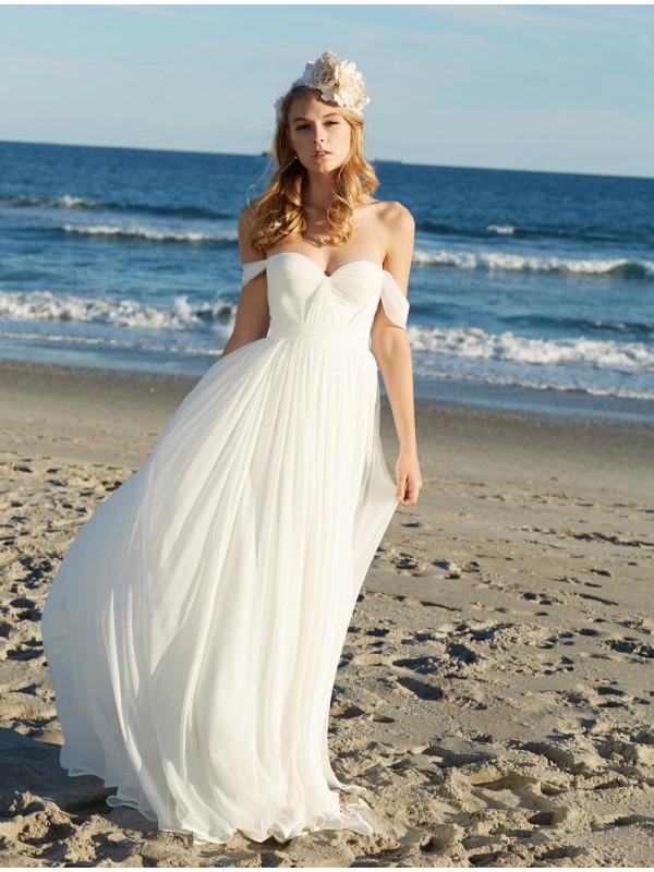 off the shoulder chiffon beach wedding dress hellodress online