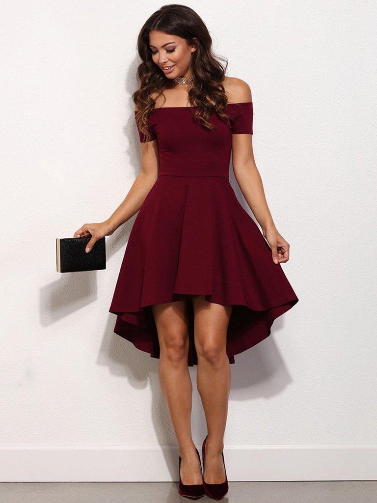A Line Off Shoulder High Low Burgundy Prom Dress High Low Formal