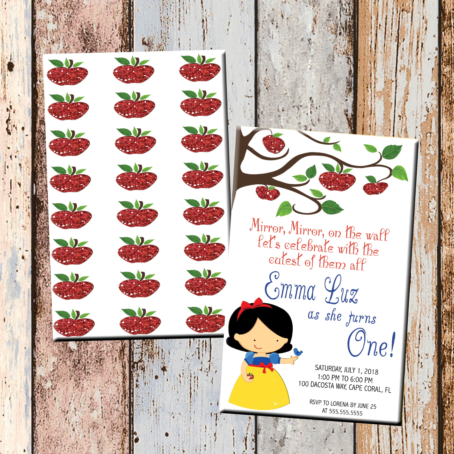 Snow White, Apple Personalized Birthday Invitation 2-Sided, Birthday ...