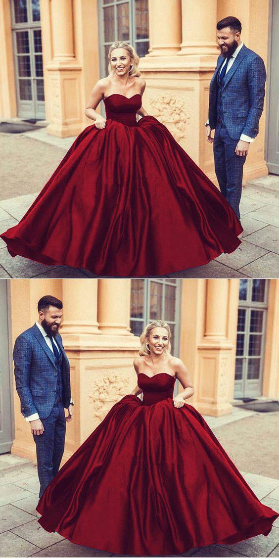 Strapless Ball Gown Burgundy/Navy Blue Prom Dresses Birthday Dress ...