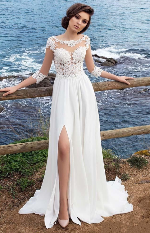 3 4 Long Sleeves Beach Bohemian Wedding Dresses 2018