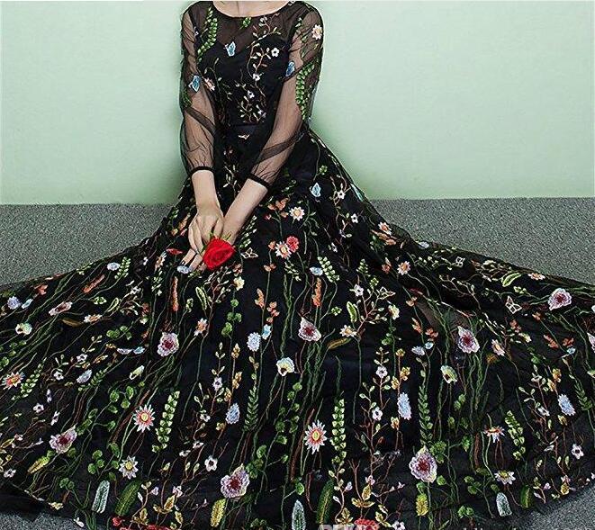 2018 Black floral gown, floral maxi dress, black wedding dress, prom ...