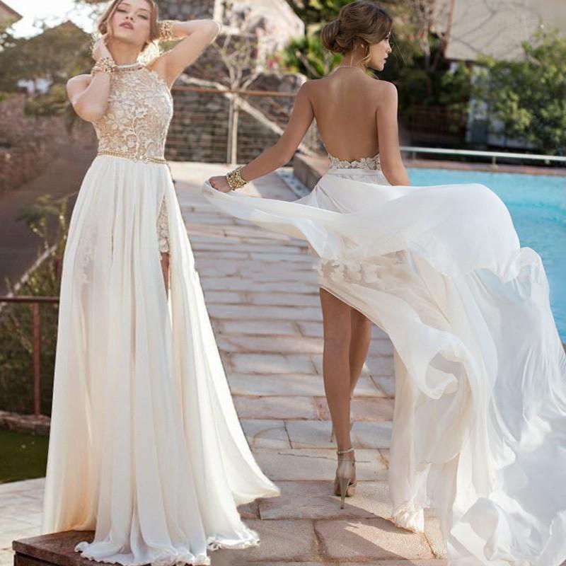 5a3a486de32 A-line High Neck Lace Bodice Ivory Chiffon Prom Dresses Beach Wedding  Dresses APD1449 ...