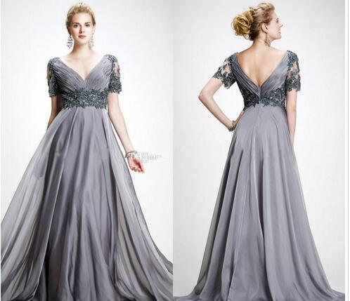 Mother Of The Bride Dresses V Neck Appliques Chiffon Floor Length Plus Size  Backless Gray Wedding Guest Dress from MissZhu Bridal