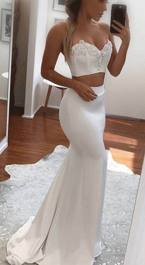 Sweetheart Two Piece Mermaid Prom Dress,Applique White Evening Dress ...