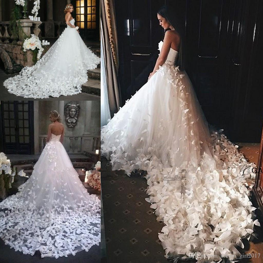 Luxury Princess Wedding Dresses Flowers Butterflies Cathedral Train ...