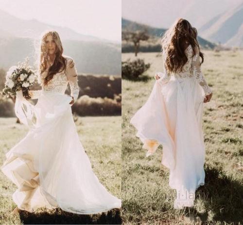 New Bohemian Wedding Dresses Long Sleeves Chiffon Boho Bridal Gowns ...