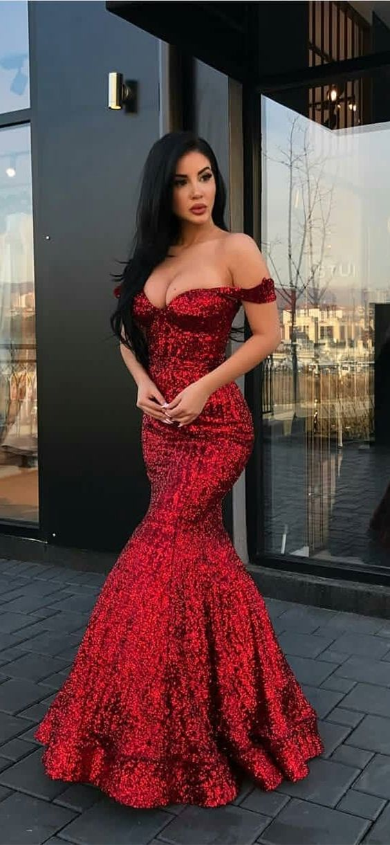 Off-the-Shoulder Floor-Length Mermaid, Red Sequined Prom Dresses ...