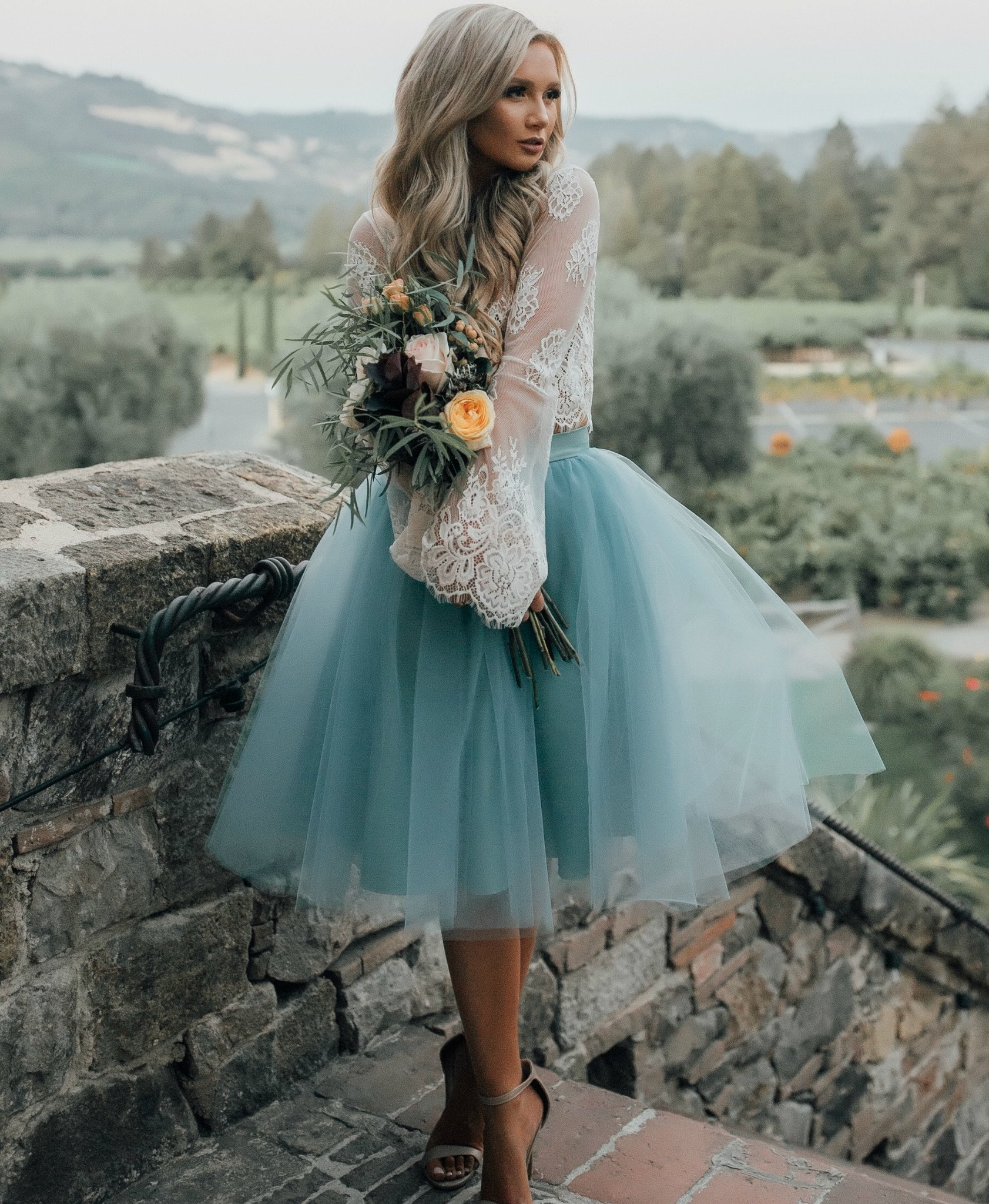 Two Pieces Beach Mini Short Wedding Dresses Blue Colorful Lace ...