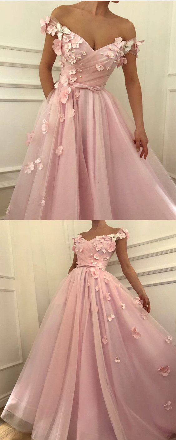Pretty Pink Tulle Long Prom Dresses V-neck Off the Shoulder Evening ...