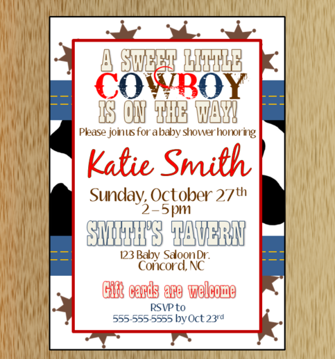 cowboy baby shower invitation 2 on storenvy