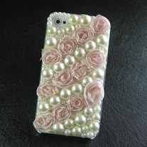 All Light Pink Lace Rose With White Pearl iPhone 4/4S Case