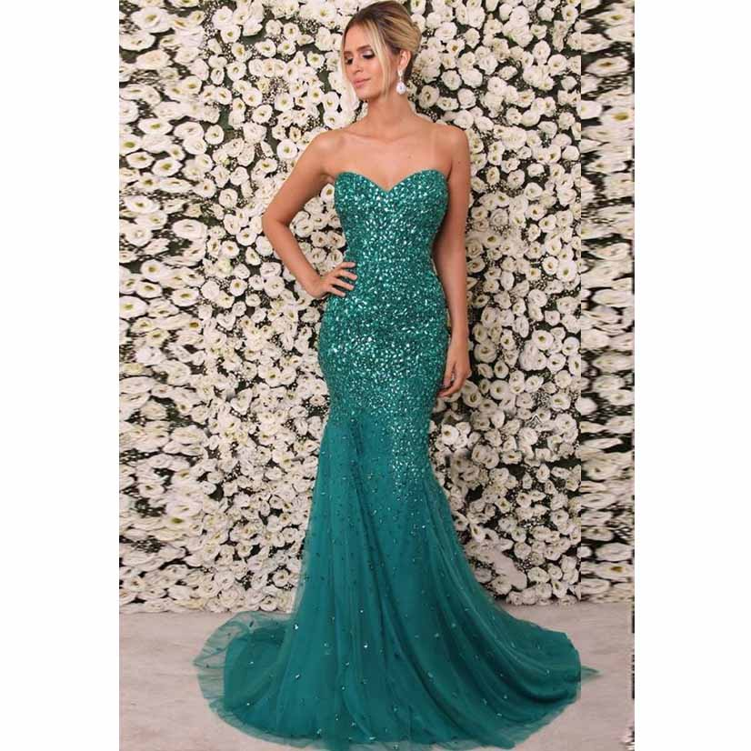 Beaded Green Sweetheart Prom Dress Tulle Mermaid Formal Evening Gown ...