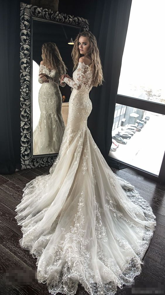 Exquisite Lace Appliques Beaded Wedding Dresses,Mermaid Sheath ...