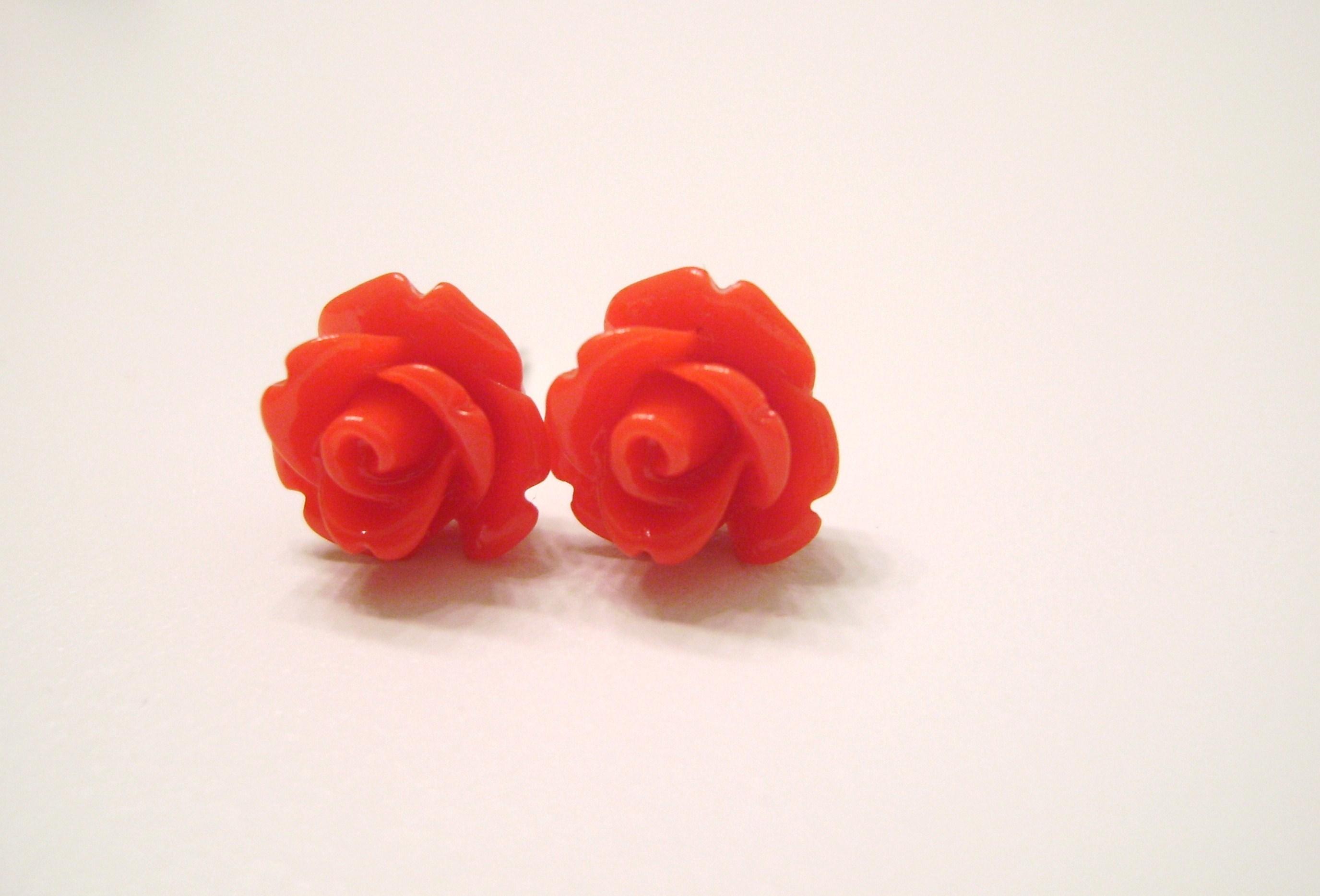 Red Rose Earrings Red Rose Flower Stud Earrings